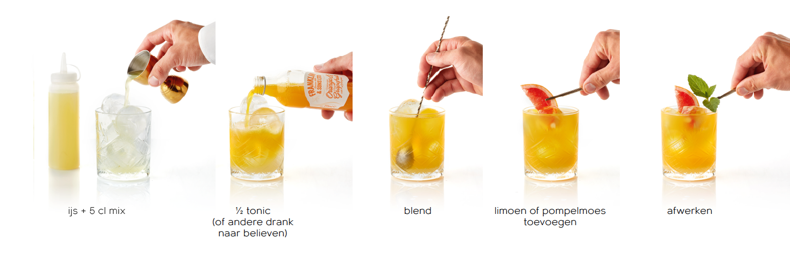92 Plus - Mocktails voor de professional - De gele mix bereiden - fris non-alcoholisch bittertje