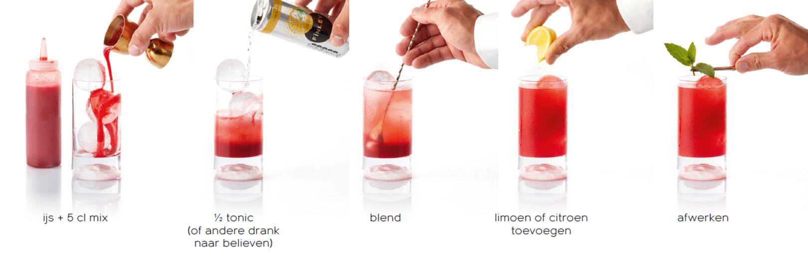 92 Plus - Mocktails voor de professional - De rode mix bereiden - roodkleurige mocktail